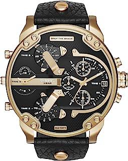 Diesel Men'S Black Dial Leather Band Watch Dz7371 Quartz Digital