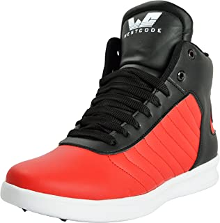 WESTCODE Mens Online Red Synthetic Leather High Top Casual Shoes and Sneakers