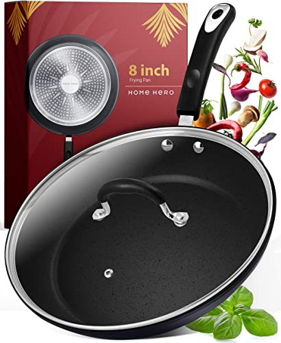 discount Frying Pan with discount Lid - 8 Inch Frying Pans Nonstick Skillet Pan Nonstick Frying Pan Skillets Nonstick with Lids Non Stick Pan sale Cooking Pan Fry Pan Nonstick Pan with Lid Skillet with Lid Pan Black outlet online sale