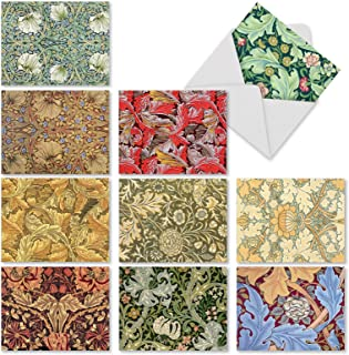 10 Note Cards w/Envelopes - Assorted 'Wall Art' Blank Greeting Cards - Beautiful All-Occasion Cards for Wedding, Thank You, Funeral - Stationery Notecards 4 x 5.12 inch M3308