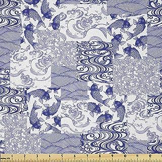 Lunarable Japanese Fabric by The Yard, Japanese Patchwork Arts and Craft Pattern Nature Botanic Wildlife, Microfiber Fabri...