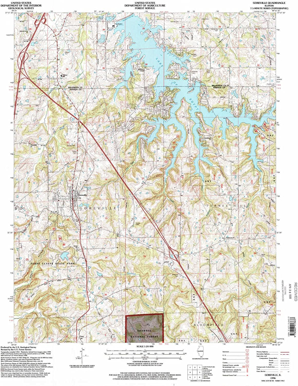 Goreville IL topo map, 1 24000 Scale, 7.5 X 7.5 Minute, Historical, 1996, Updated 1998, 26.9 x 22 in
