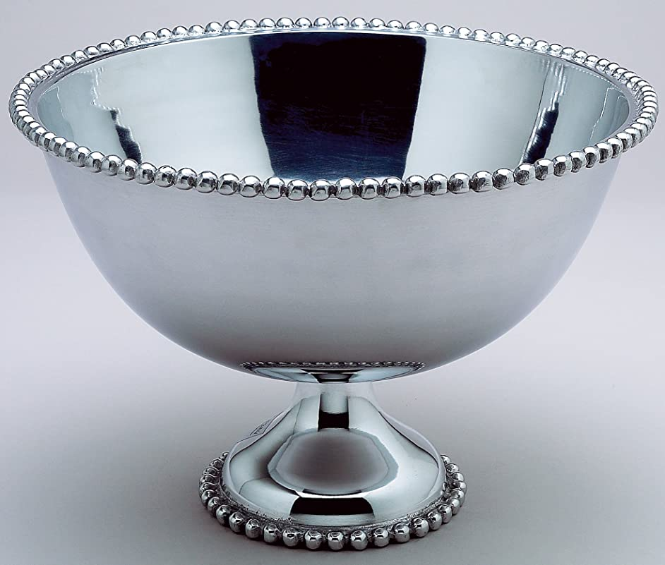KINDWER Huge Beaded Aluminum Punch Bowl, 16-Inch, Silver