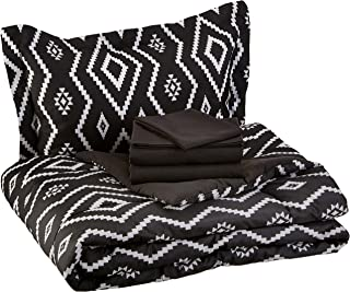 AmazonBasics 5-Piece Bed-In-A-Bag, Twin / Twin Extra-Long Bedding Comforter Sheet Set, Black Aztec, Microfiber, Ultra-Soft