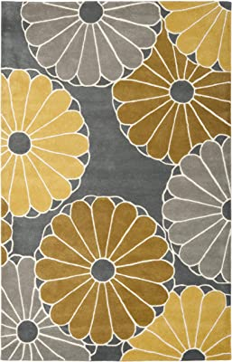 Safavieh Soho Collection SOH705A Handmade Grey and Yellow Premium Wool Area Rug (5' x 8')