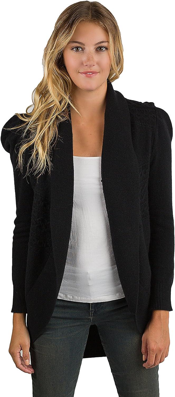 JENNIE LIU Women's 100% Pure Cashmere Long Sleeve Celine Cable-Knit Open Cardigan Sweater