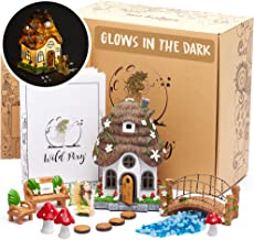 WILD PIXY Fairy Garden Accessories Kit - Miniature House and Figurine Set for Girls, Boys, Adults - with Magical Glow In T...