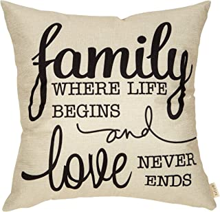 """Fjfz Rustic Family Farmhouse Decorative Throw Pillow Cover Family Where Life Begins and Love Never Ends Sign Housewarming Gift Decoration Home Decor Cotton Linen Cushion Case for Sofa Couch, 18"""" x 18"""""""