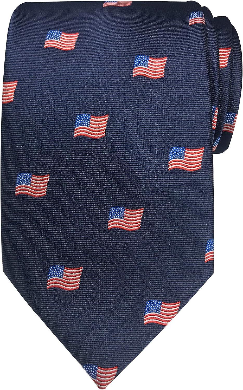 Jacob Alexander Men's Woven American Flags USA Navy Neck Tie - Extra Long