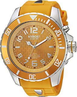 KYBOE! Power Stainless Steel Quartz Watch with Silicone Strap, Yellow, 26 (Model: SC.55-006.15