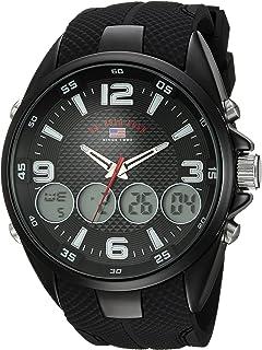 Men's Analog-Quartz Watch with Rubber Strap, Black, 27...