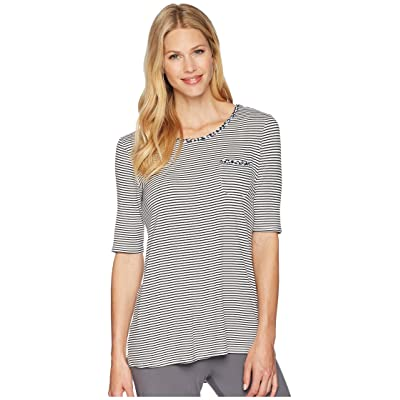 Jockey Above Elbow Sleeve Top (Black Stripe) Women