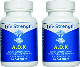 ADK 2 PK `180 CT Physician Formulated Vitamins A1, D3 & K2 (as MK7) Bone, Heart & Immune System Support Glu...