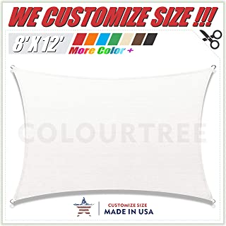 ColourTree 8' x 12' White Rectangle Sun Shade Sail Canopy Awning Shelter Fabric Cloth Screen - UV Block UV Resistant Heavy Duty Commercial Grade - Outdoor Patio Carport - (We Make Custom Size)