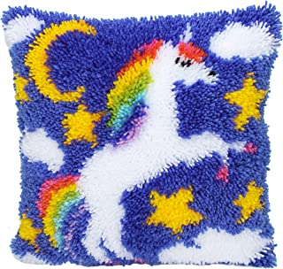 Beyond Your Thoughts Latch Hook Kits for DIY Throw Pillow Cover Sofa Cushion Cover Unicorn with Pattern Printed 16X16 inch, Crochet Needlework Crafts for Kids and Adults