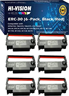 HI-VISION HI-YIELDS Compatible ERC-30 (Black/Red) Ink Ribbon Replacement (6-Pack) for Epson M119 M119B M119D M133A M270 M5...