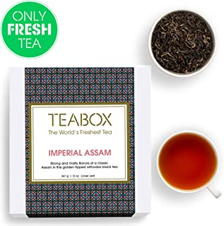 Teabox Imperial Assam Loose Leaf Black Tea | STRONG and MALTY | Golden Tipped Orthodox Black Tea | 12 Oz (Makes 200+ Cups)