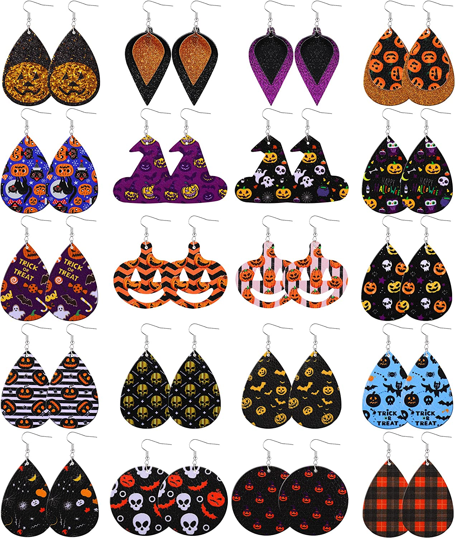 KOHOTA Halloween Earrings for Women Ladies Teardrop Faux Leather Dangle Earrings Lightweight Halloween Costume Party Decoration Supplies