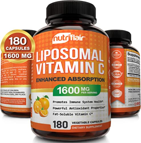 NutriFlair Liposomal Vitamin C 1400mg, 180 Capsules - High Absorption, Fat Soluble VIT C, Antioxidant Supplement, Hig...