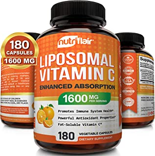 NutriFlair Liposomal Vitamin C 1600mg, 180 Capsules - High Absorption, Fat Soluble VIT C, Antioxidant Supplement, Higher B...