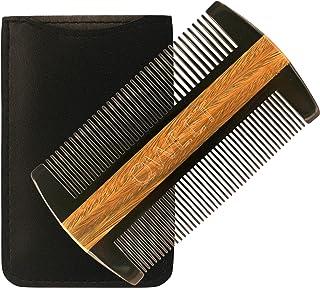 Peigne barbe en corne et bois de santal by Qweet - Soin cheveux ou entretien moustache, Étui offert, Double rangée de dent...