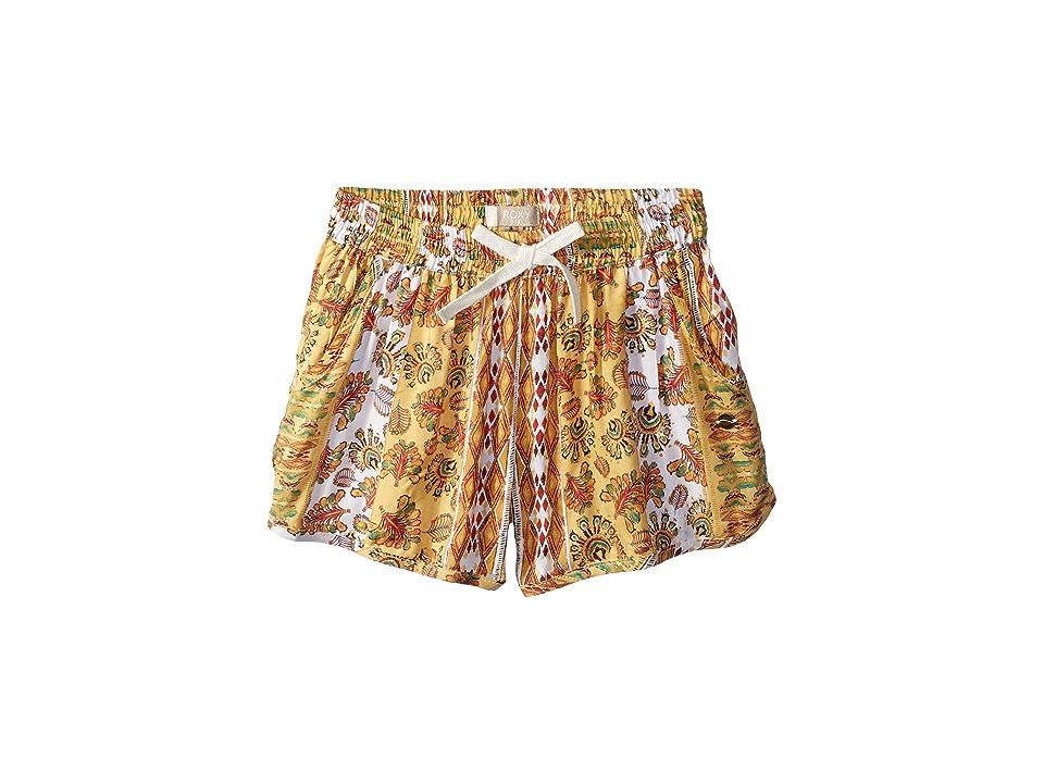 85969f8a03c7 Roxy Kids Heart On Fire Shorts (Big Kids) (Buff Yellow Girl Vertical Flowers