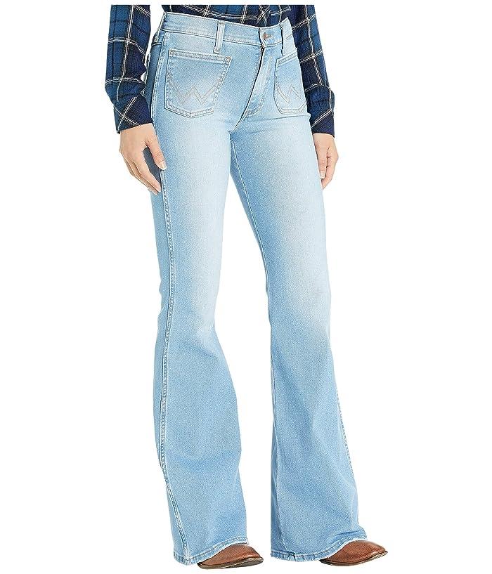 Vintage High Waisted Trousers, Sailor Pants, Jeans Wrangler Modern High-Rise Flare Patch Malibu Womens Jeans $59.18 AT vintagedancer.com
