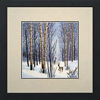 King Silk Art 100% Handmade Embroidery Deer in Winter Woods Chinese Print Landscape Painting Gift Oriental Asian Wall Art Décor Artwork Hanging Picture Gallery 37053WF