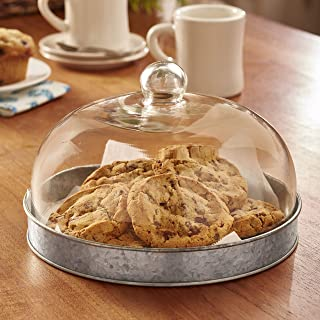 Glass Domed Serving Plate for Cake, Cookies, Pie and Pastries - Galvanized
