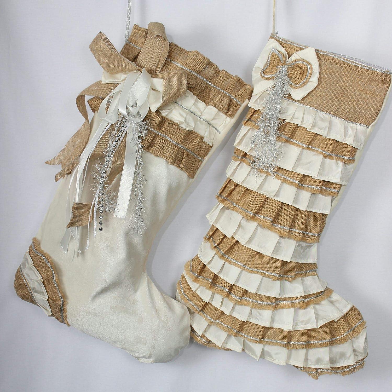 White Christmas Max 42% OFF Stocking Set Shabby Christ gift Stockings Ruffle Chic