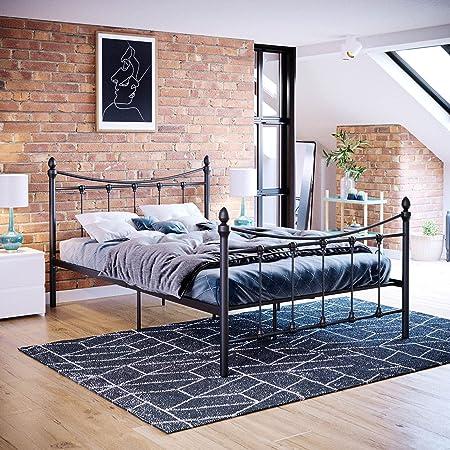Vida Designs Paris Petit lit Double 1,2 m Tête de lit en métal Pied de lit Haut Meuble de Chambre Noir