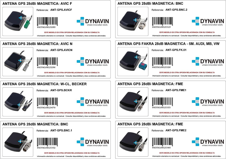 Dynavin Ant-GPS.SMA.1-5 Metros. Ganancia 28dB. Antena GPS SMA Macho y Conector Recto. Alpine, Falcom, GlobalSat, Heedfeld, Navman, Trimble. Dispone de ...