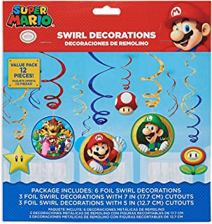 Super Mario Brothers Value Pack Foil Swirl Decorations, Party Favor