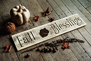 Fall Blessings Engraved Wood Sign REAL WOOD with Rustic Acorn Shape - Autumn Themed Wall Hanger Door Decorations