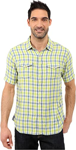 Beach Checks Short Sleeve Shirt Two-Pocket Combed Cotton Double Light