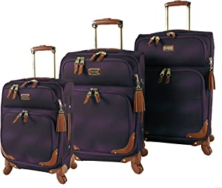 Luggage 3 Piece Softside Spinner Suitcase Set Collection (One Size, Shadow Purple)
