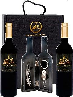 Caja de Vino Tinto - Pack de 2 Botellas con Set con sacacorchos servidor con tapón y aro antigoteo Regalo Original - Crian...
