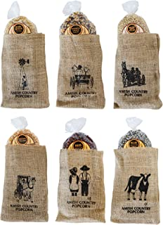 Amish Country Popcorn - 6 Piece Burlap Gift Set (2 Pounds Each) Medium Yellow, Baby White, Medium White, Rainbow, Red, & Blue Kernels - With Recipe Guide