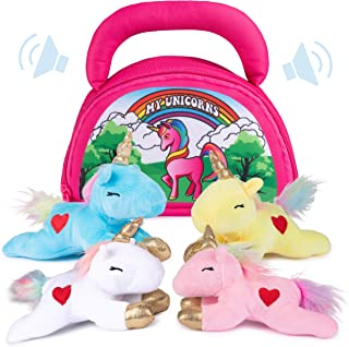 Plush Creations Plush Unicorn Toy Set | Includes 4 Talking Soft Unicorns | Pink, Blue, White, and Yellow Unicorn with A Plush Pink Carrier | Great Gift for Baby and Toddler Girls