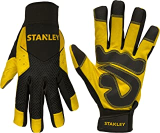 Stanley Synthetic Leather Work Gloves with Comfort Grip and PVC Reinforcements- Machine Washable -  Large