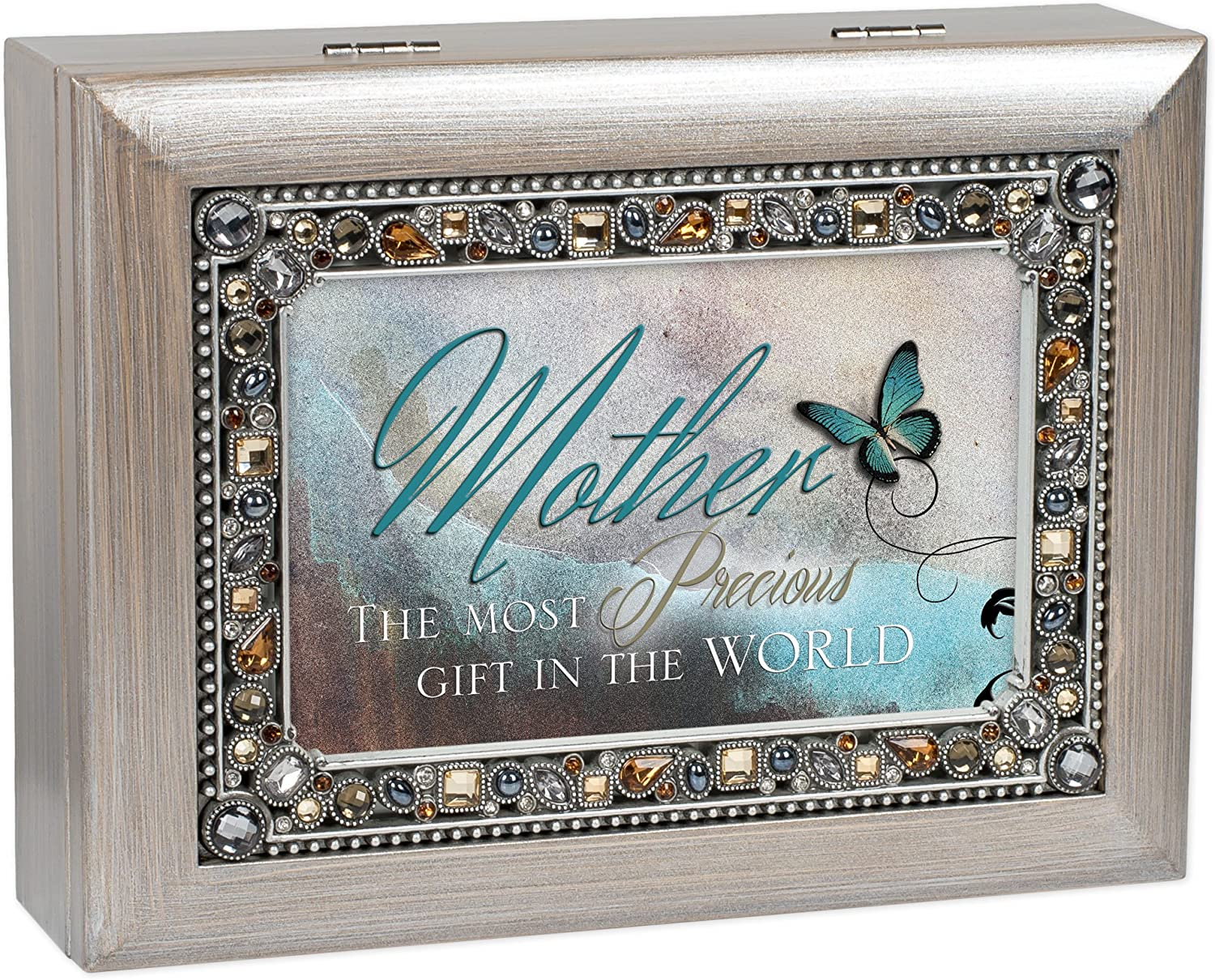 Cottage Garden Mother Precious Gift Brushed Pewter Earthtone Jeweled Music Box Plays You Light Up My Life