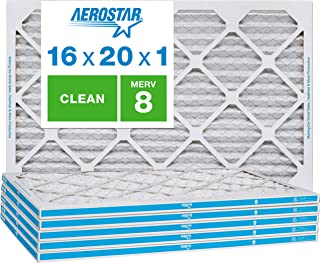 Aerostar Clean House 16x20x1 MERV 8 Pleated Air Filter, Made in the USA, 6-Pack