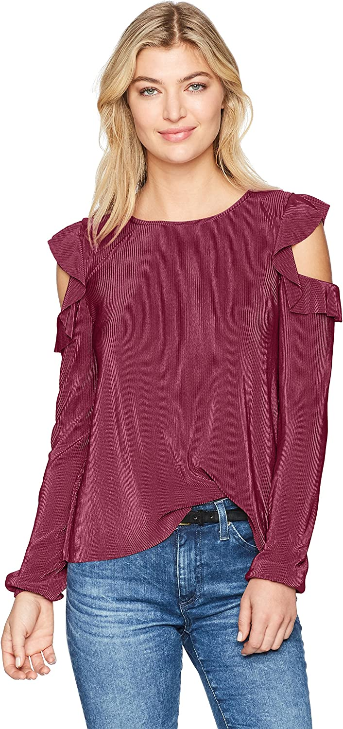 Freshman 1996 Womens Long Sleeve Cold Shoulder with Ruffle TShirt