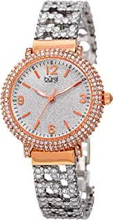 Burgi Swarovski Crystal Women's Fashion Watch - Crystal Filled Sparkling On Silver Powder Finished Dial on Stainless Steal Bracelet Watch - BUR140