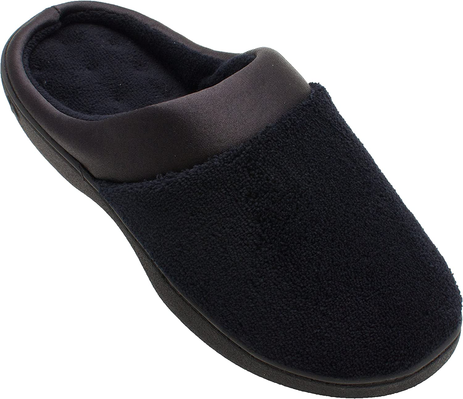 Isotoner Women's Micro Terry PillowStep Satin Cuff Clog (Large   8.5-9 B(M) US, Black)
