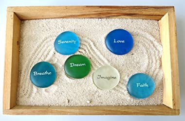 Lifeforce Glass The Mermaid's Message, 24 Frosted Inspirational Sea Glass Stones, Assorted, Two Each of Twelve Inspiring
