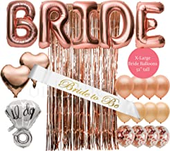 Extra Large 32 Inch Bride Balloons in 22 Piece Bachelorette Party Decorations Bridal Shower Decorations Kit Rose Gold Party Decorations Plus Bride Sash Bride Decorations Kit