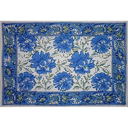 Lotus Flower Block Print Cotton Table Placemat 20 X 14 Blue Home Kitchen
