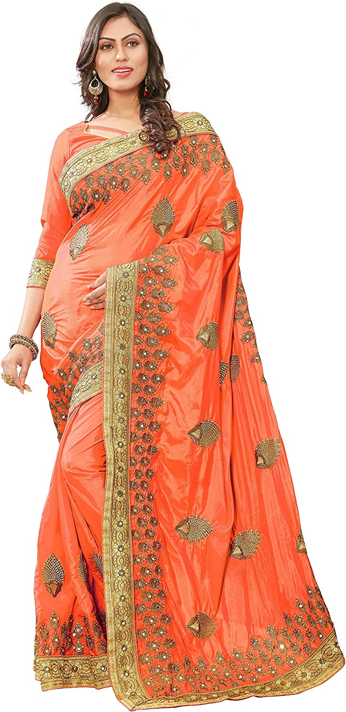 Panash Trends Women's Silk Saree with Blouse Piece (orange)
