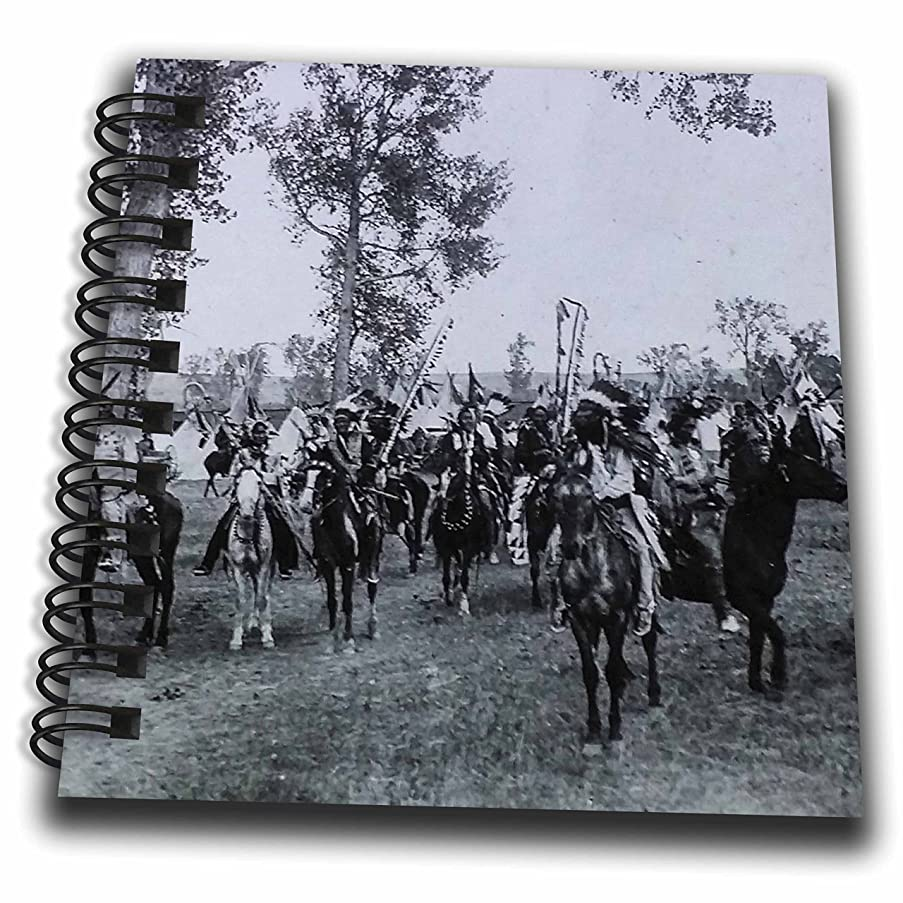 3dRose Scenes from The Past Magic Lantern Slides - Vintage Indians Sioux in Full Feathers Nebraska Native Americans - Mini Notepad 4 x 4 inch (db_269869_3)